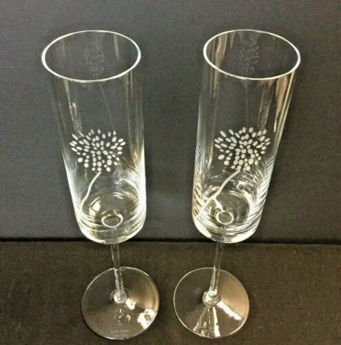 """Kate Spade """" Moore Meadow """" Crystal Champagne Glass / Flutes / Etched Floral"""