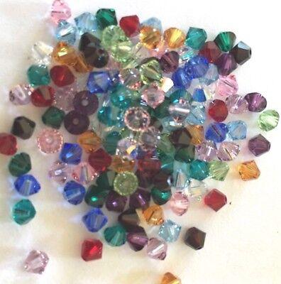 120 pc. BIRTHSTONE MIX SWAROVSKI CRYSTAL 4mm Loose Beads 5328 Bicones 12 Colors