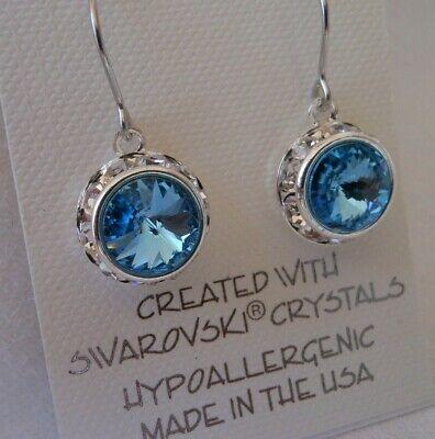 Aqua Quartz Earrings - HYPOALLERGENIC  Dangle Earrings  Swarovski Elements Crystal in AQUA Color