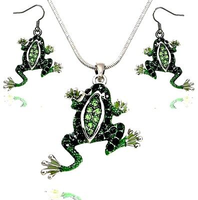 Frog Jewelry - Adorable Green Frog Pendant Necklace and Earrings Set with 19