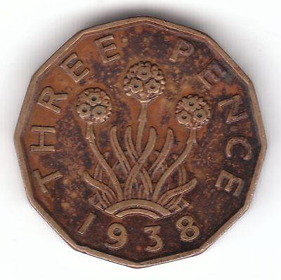 1938 George VI - Nickel-Brass - Threepenny Bit Coin - Threepence