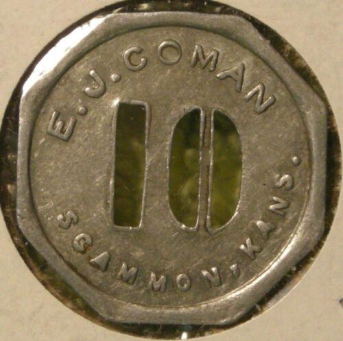 E.J. Coman good for 10 cents in trade token Scammon Kansas