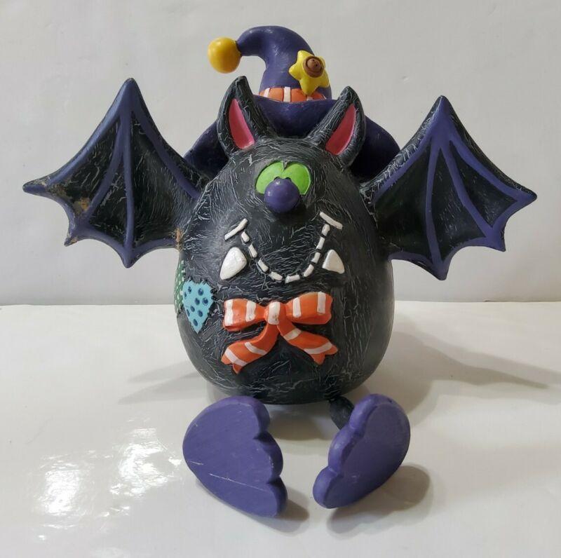 Halloween Bat Shelf Sitter Resin Holiday Seasonal Witch Hat 7x8