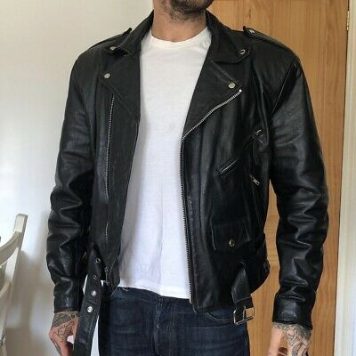 Vintage Black Leather Biker Jacket to Fit M/L