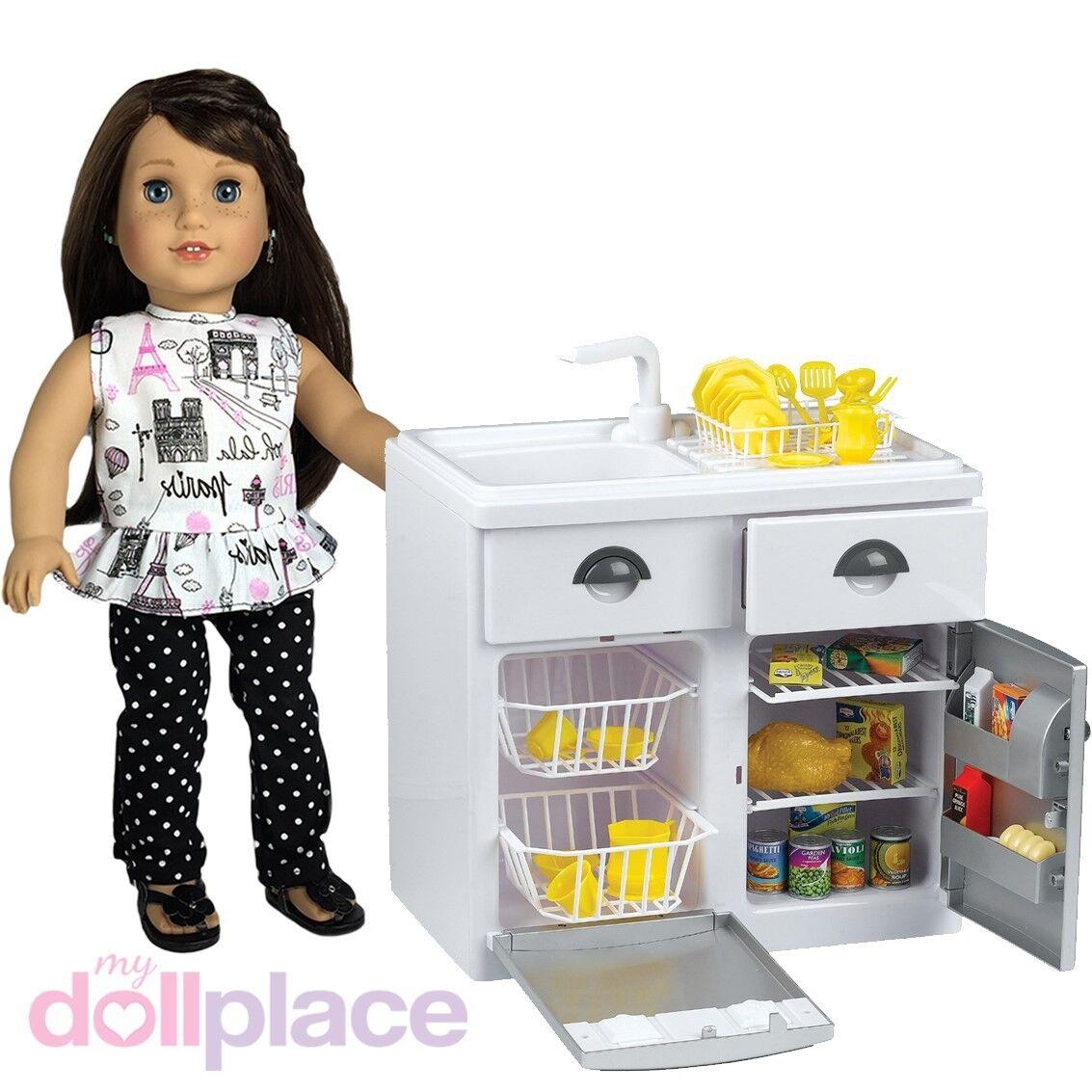 18 inch doll sink dishwasher fridge food kitchen furniture