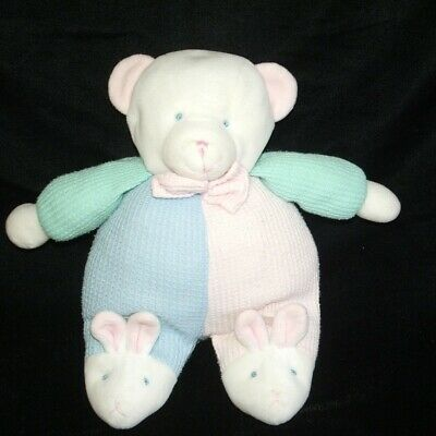 Soft Dreams Pastel Thermal Bear Rattle Bunny Feet Slippers Plush Baby Toy 9