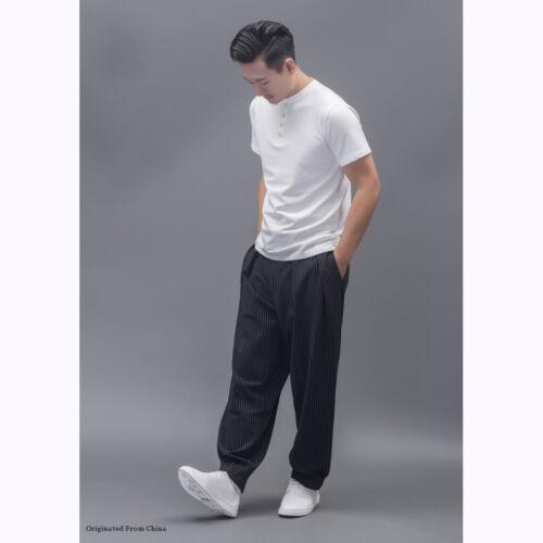 Mens  Maxi casual harem pants pleated Wide Leg dance Loose Show dress trousers