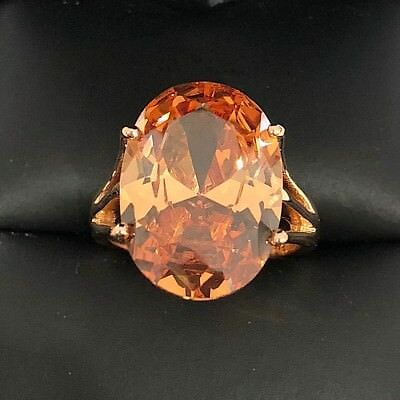 Large 7 Ct Oval Yellow Citrine Solitaire Ring Women Engagement Wedding Gift