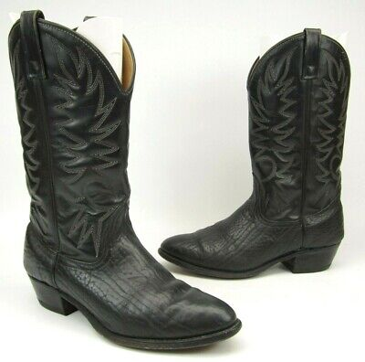 WESTERN COWBOY BOOTS MEN'S SHOE SIZE 10.5 E BLACK LEATHER WIDE FIT USA MADE