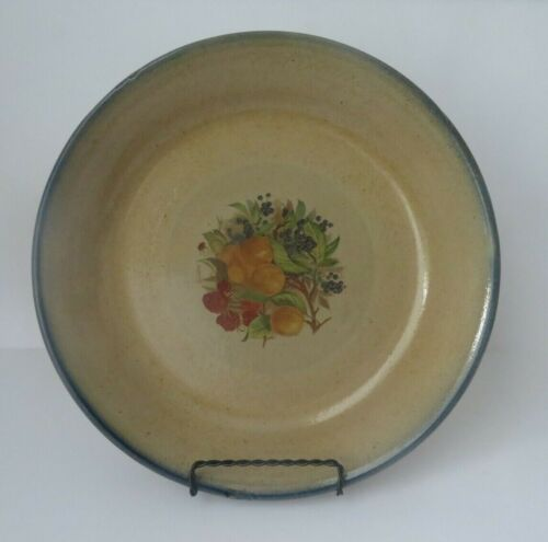 """Vintage 10.5"""" Stoneware Pie Plate with Fruit Decal Blue Trim"""