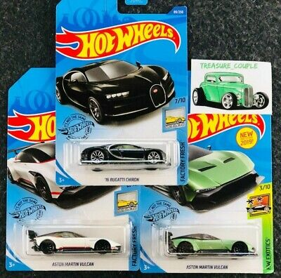 Hot Wheels - Lot of 3 - BUGATTI - Aston Martin - Chiron & Vulcan - B56