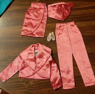 Vintage Barbie Rose Pink Satin Pak Fashion Lot Pants Jacket Top Skirt Shoes