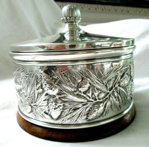 BIG VINTAGE MENS STERLING SILVER JEWELRY BOX GORHAM REPOUSSE PINE CONE ORGANIZER