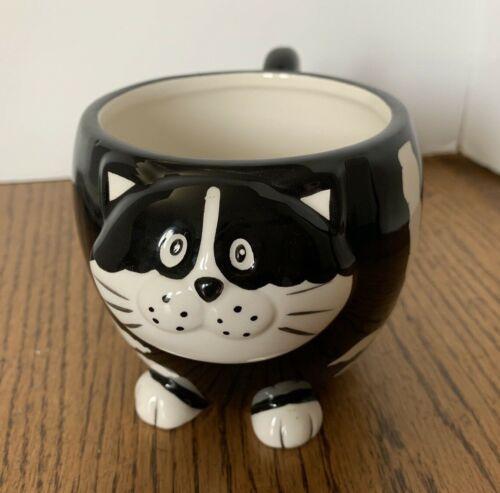 "Pier 1 ""Chubby Cat"" Coffee Tea Mug Black White Striped Hand Painted Dolomite"
