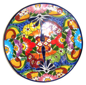 Mexican Talavera Handmade Salsa Plate Hand Painted Collectible 12.5