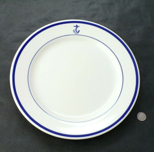 "US NAVY Homer Laughlin Dinner Plate 9 7/8"" Dia. Wardroom Officer FOULED Anchor"