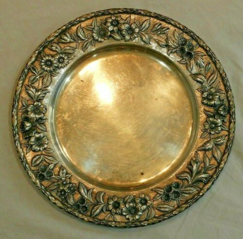 "S. Kirk & Son Inc Sterling Silver 11"" Plate with Floral Repousse Border 22.6 OZT"