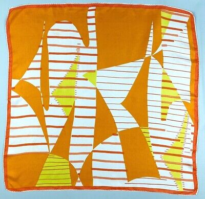 Vintage Scarf Styles -1920s to 1960s vintage SILK scarf Orange yellow white retro abstract classic 60s 70s groovy mod $24.00 AT vintagedancer.com