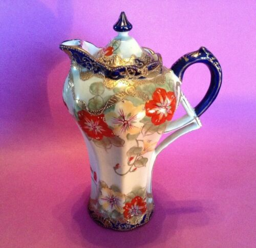 Hand Painted Chocolate Pot Teapot - Deco Handle - Blue And Red - Nippon Japan