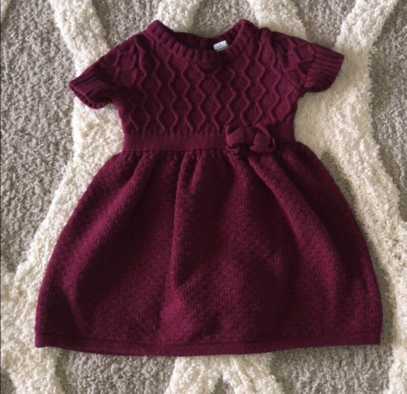 Janie & Jack Girls cable knit dress burgundy Maroon Kids Winter Fall 3T Clothes
