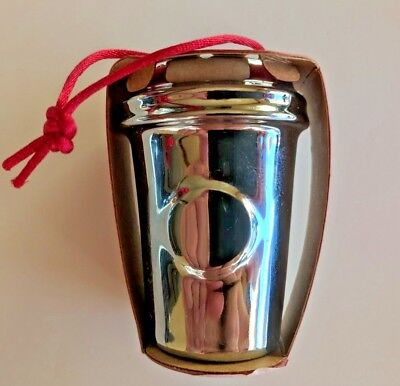 Starbucks 2014 Silver Paper Coffee Cup Ceramic Christmas Ornament 011042114 Christmas Coffee Cup