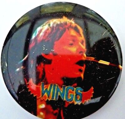 """WINGS ,PAUL """"MACCA"""", Badge Vintage 70s / 80s Button Badge 2 ½ """""""