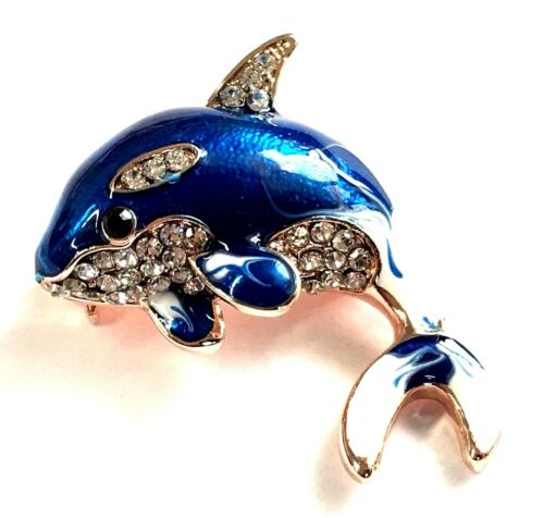 Whale Brooch pin clear rhinestones 1.25x2.5scuba diving snorkeling surf GIFT #2
