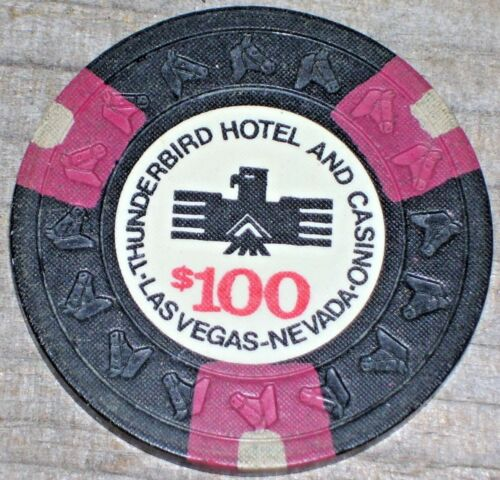 $100 9TH EDT GAMING CHIP FROM THE THUNDERBIRD CASINO, LAS VEGAS