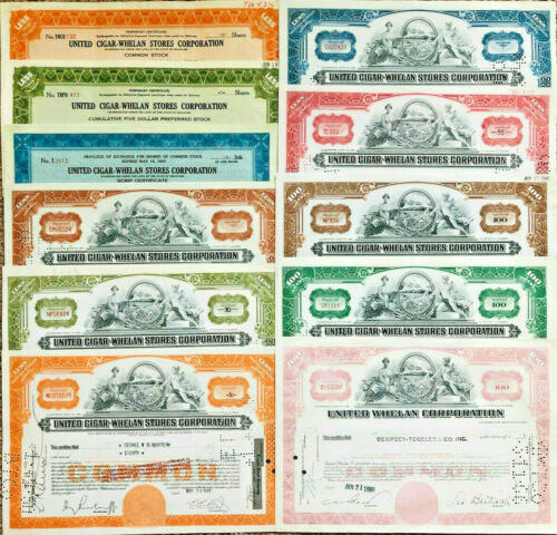 United Cigar Whelan Stores Corporation > set of 11 tobacco stock certificates
