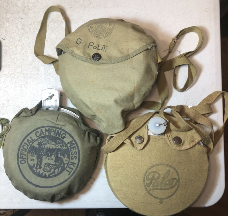 Lot Of 3 Vintage Boy Scouts of America Aluminum Canteen And Palco