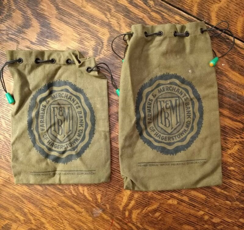 VINTAGE FARMERS AND MERCHANTS BANK OF HAGERSTOWN, MD. CANVAS DEPOSIT / COIN BAGS
