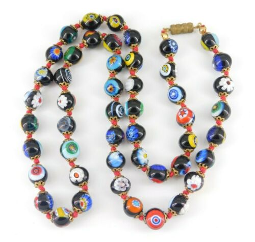 """Vintage Millefiori Glass Beaded Necklace 24 5/8"""" Long"""