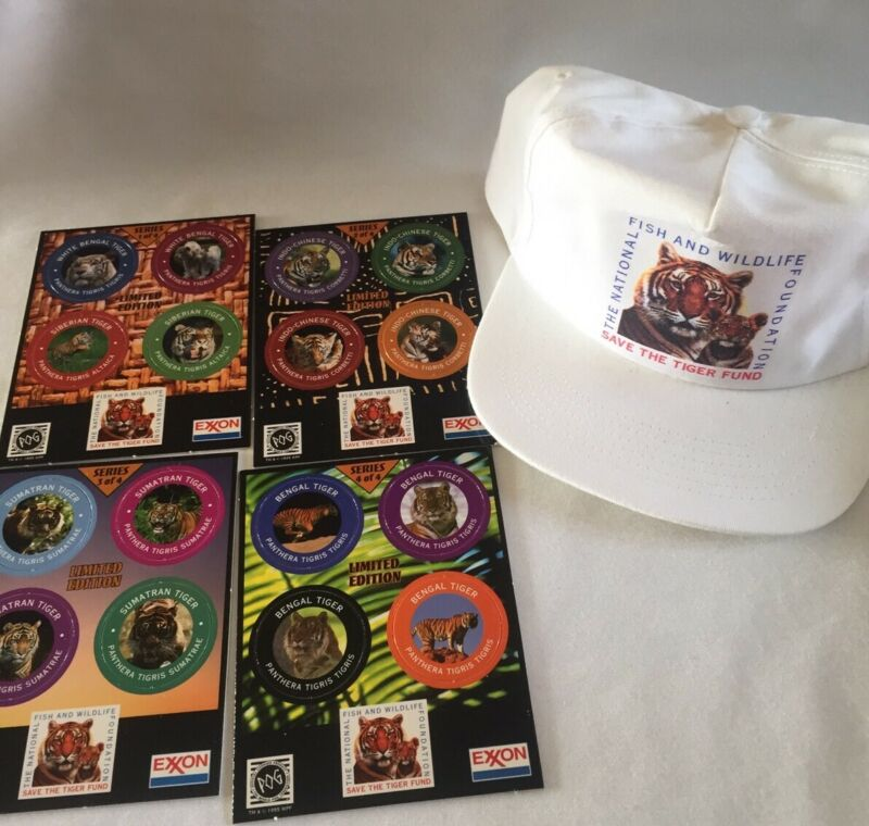 1995 VTG Exxon Set of Pogs Save the Tiger & Fish & Wildlife Foundation Hat