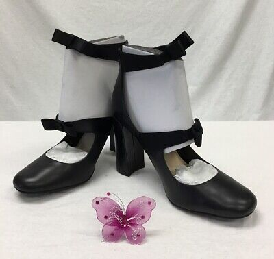 Nine West Black With Bows Double Strap Mary Jane Heels NWOB Sz 9.5  A99DM - Double Strap Mary Jane Heels