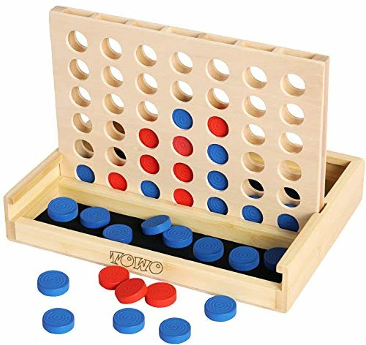 Towo Holz 4 in einer Reihe Spiel-klassisches Strategie-Spiel für Erwachsene Kin