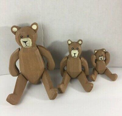 Vintage Bear Family Wooden Toy Decor Collective Antique Figurines Animal - Family Wooden Toy