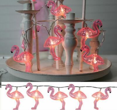 10 LED Batterie Lichterkette Dekolichterkette Flamingo pink Sommer Party Garten