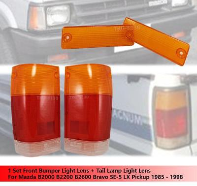 Front Bumper Light Lens + Tail Light Lens For Mazda B2000 B2200 B2600 1985-1998, used for sale  Shipping to United States