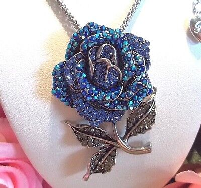 BETSEY JOHNSON 3-D STYLE CRYSTAL BLUE ROSE IN FULL BLOOM PENDANT NECKLACE