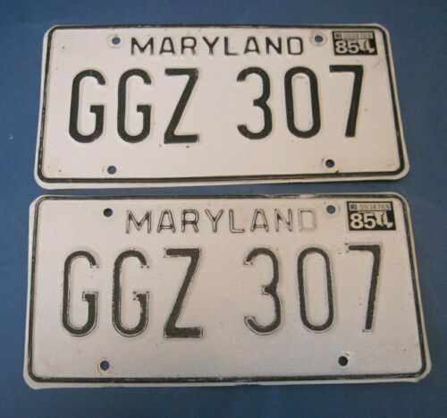 1985 Maryland License Plates matched pair