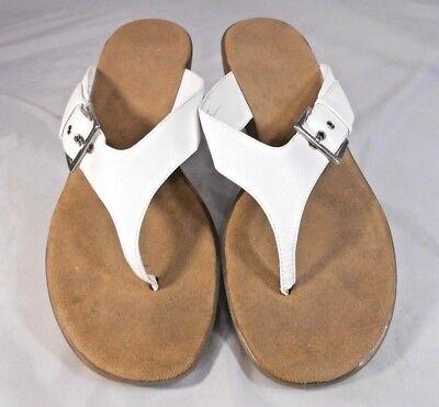 Bass LEAH Womens Flip Flops Size 10 M Buckle Strap Walking Wedge Heel White Strap Wedge Flip Flops
