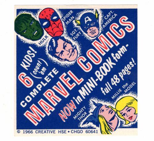 nm MARVEL COMICS Mini-Books VENDING MACHINE LABEL SIGN Vintage 1966 ORIGINAL