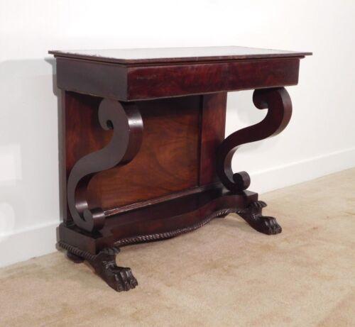 ANTIQUE Empire 1820-30s Crotch Mahogany Claw Foot Pier Mirror Table
