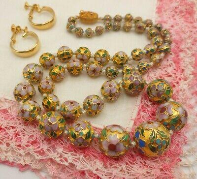 Signed Austria##* Vintage Double Strand Pale Pink Unique Beaded Necklace