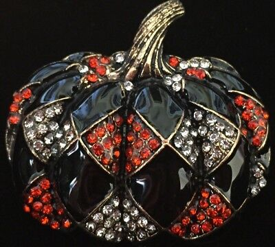 Black Orange Rhinestone Whimsical Halloween Harlequin Pumpkin Pin Brooch Jewelry