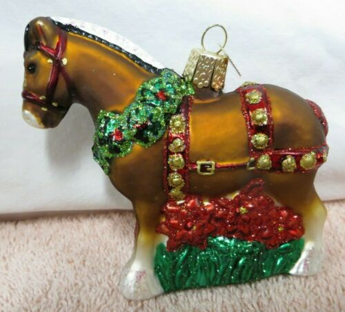 Old World Christmas Blown Glass Ornament - Clydesdale Decorated Horse