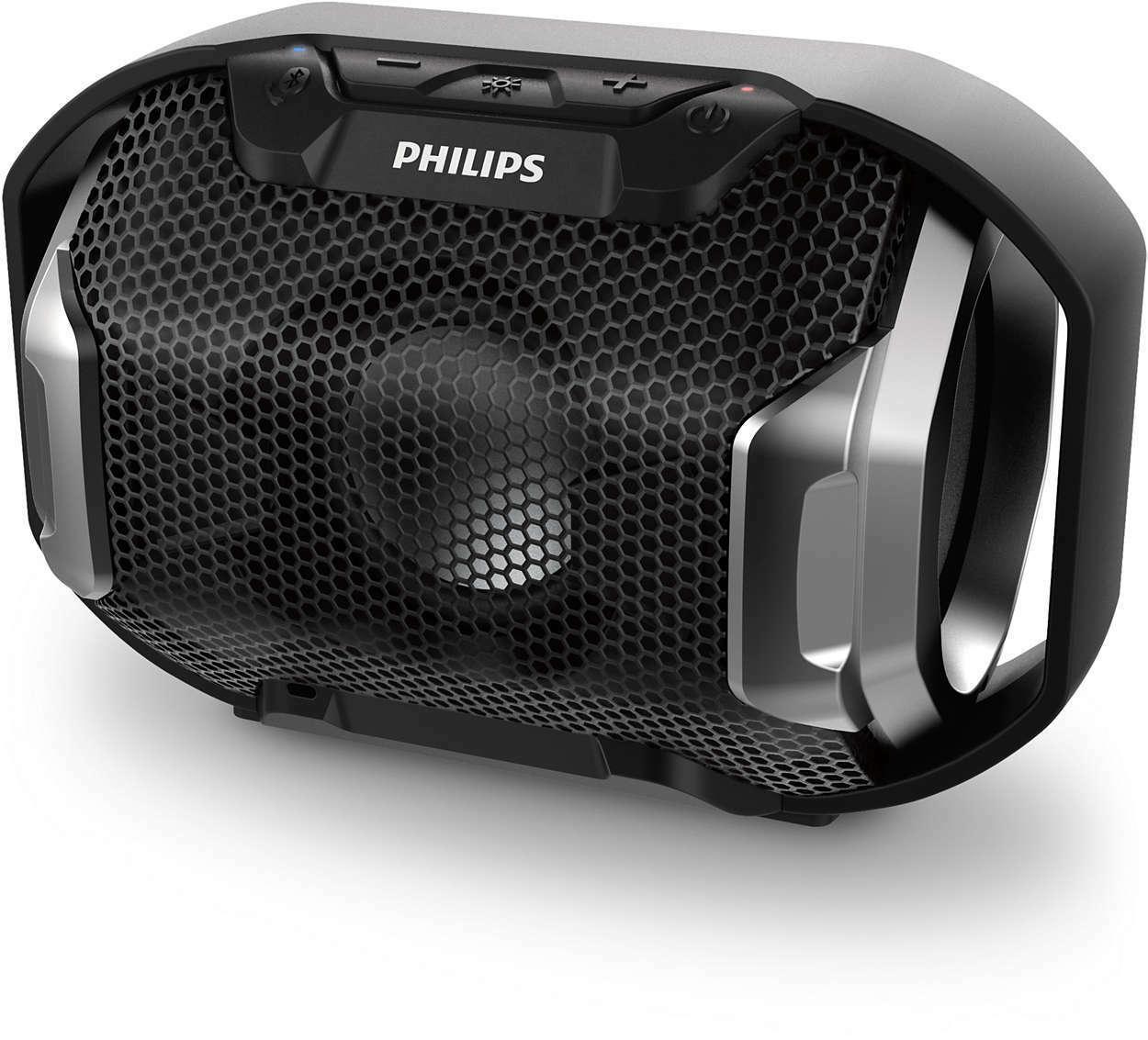 d2b677b3d646e1 Details about Philips ShoqBox SB300B Waterproof IPX7 Bluetooth Speaker w/  Multi-Colored Lights