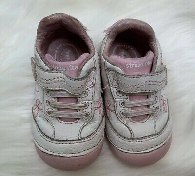 Stride Rite SRT SM Bambi Infant Girl's Pink/white Shoes Size 3M Leather