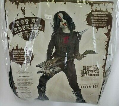Rot N Rockers Metal Mayhem Costume Halloween Youth Size XL 14-16
