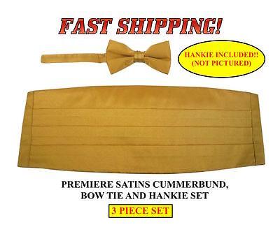 GOLD Cummerbund Bow Tie Hankie Premiere Satins New 3 PIECE SET CBPS-14 Gold Satin Cummerbund